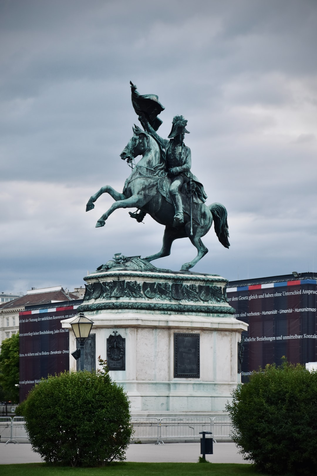 Stormy rider on a summer evening: The equestrian statue depicting the Austrian archduke Carl Ludwig von Österreich (1771 - 1847) constructed by architect Anton Dominik Fernkorn in 1860 on the Vienna Heldenplatz.
