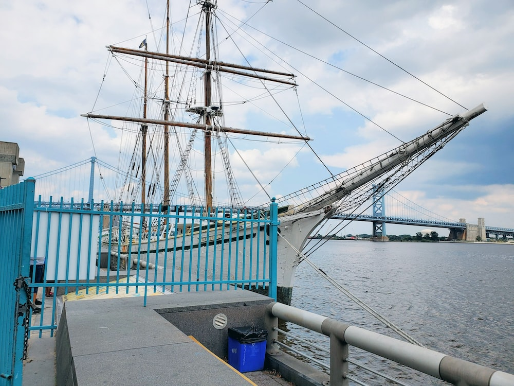 blue and white bridge over body of water during daytime