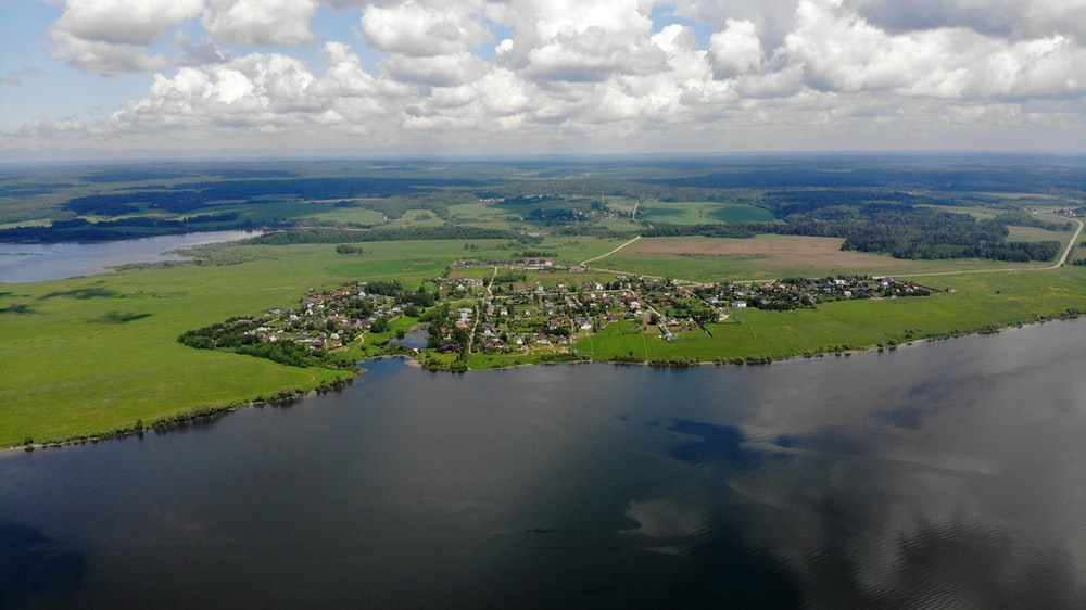 aerial view of green grass field and green trees near lake during daytime
