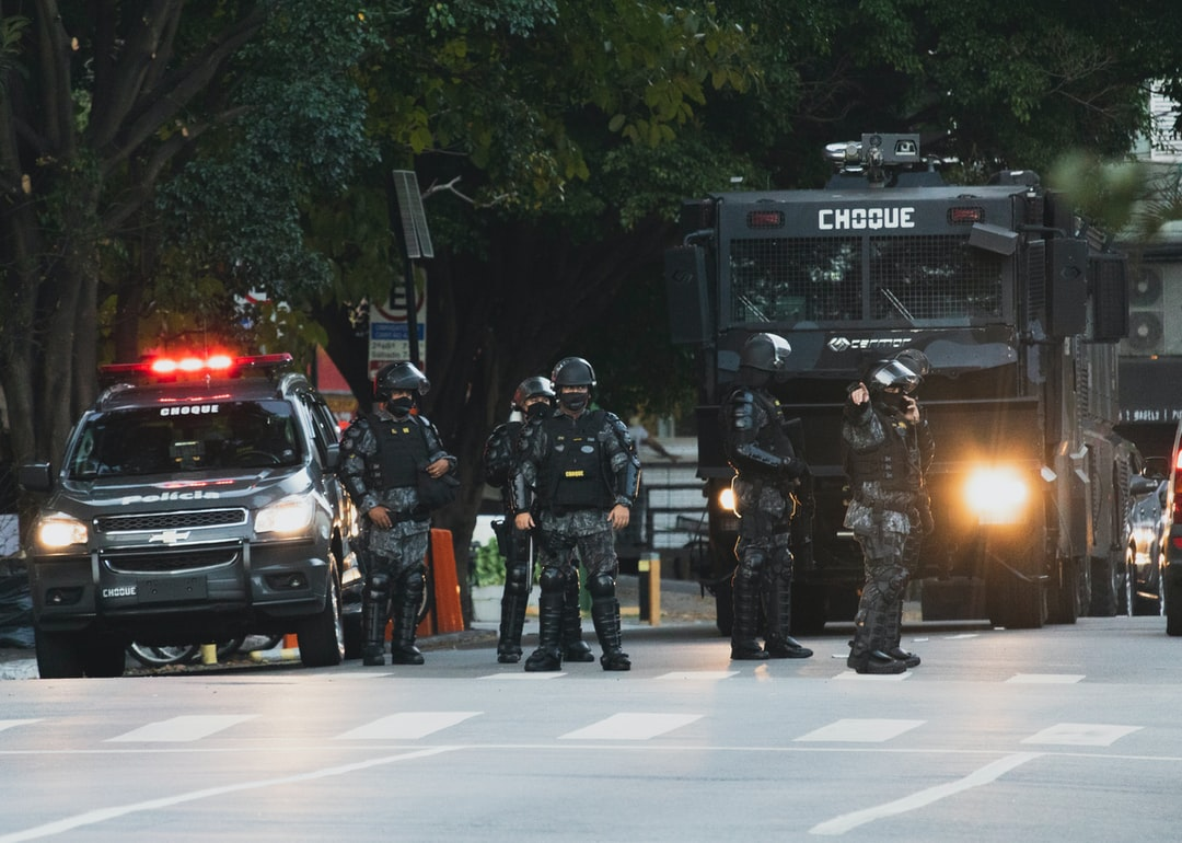 Police during the protest against Brazil's President Jair Bolsonaro.