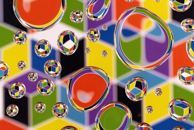 red blue and yellow round illustration cubism zoom background