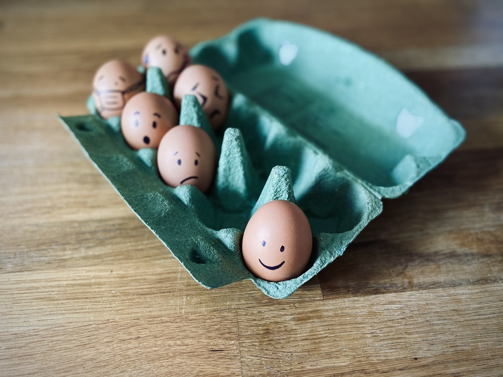 brown eggs on green tray