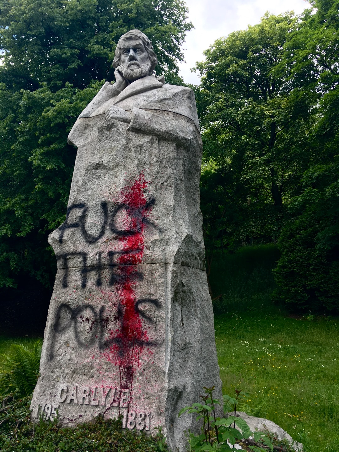 Defaced Thomas Carlyle statue in Glasgow following Black Lives Matter protests on the 7th June 2020