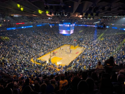 people watching a game on a stadium golden state warriors zoom background