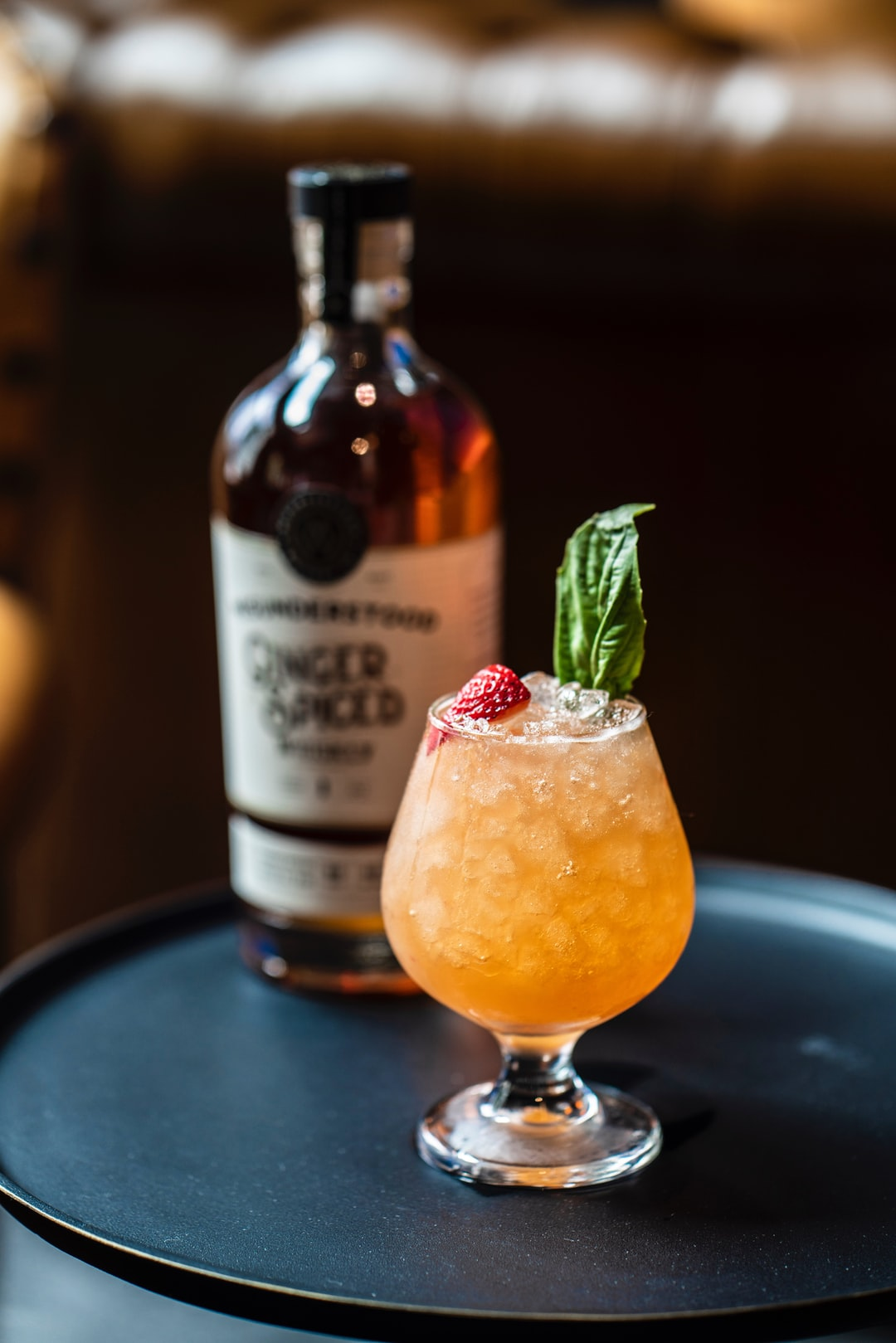 Misunderstood Whiskey Strawberry Basil Smash cocktail at a local bar in Jersey City.