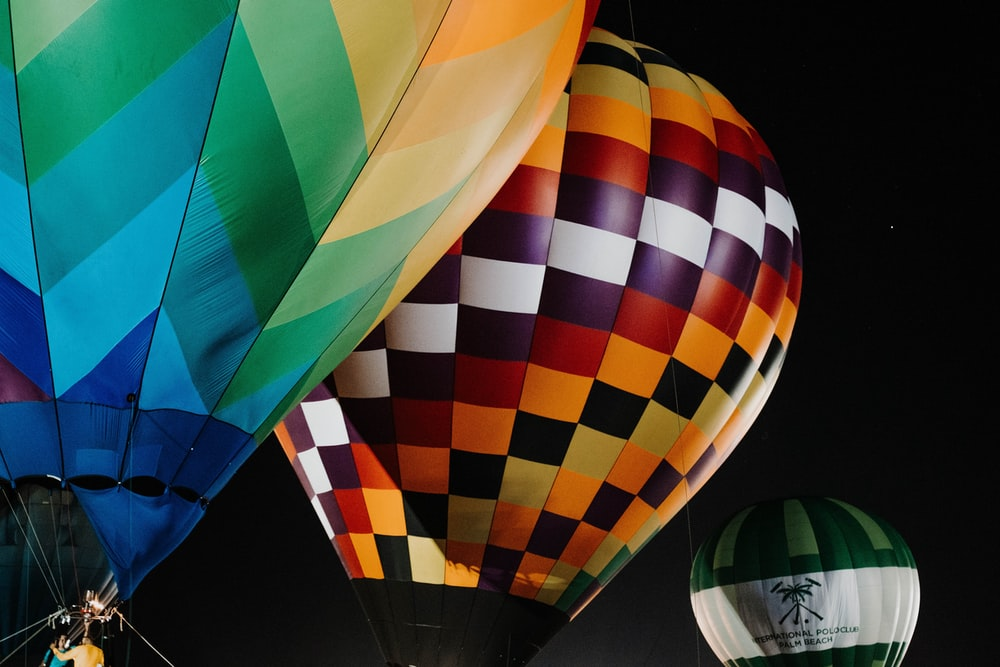 yellow green and red hot air balloon