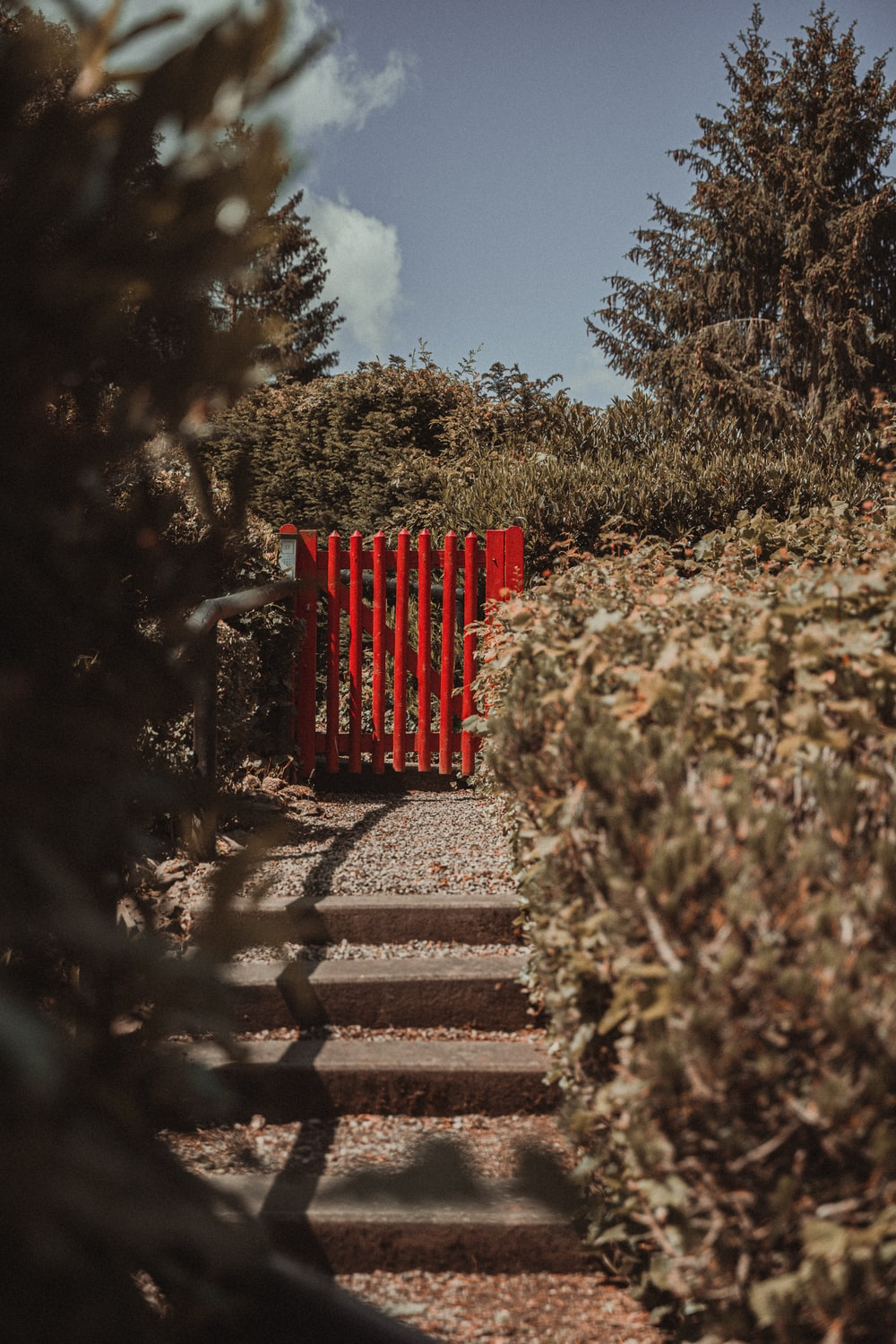red wooden bench on brown concrete stairs