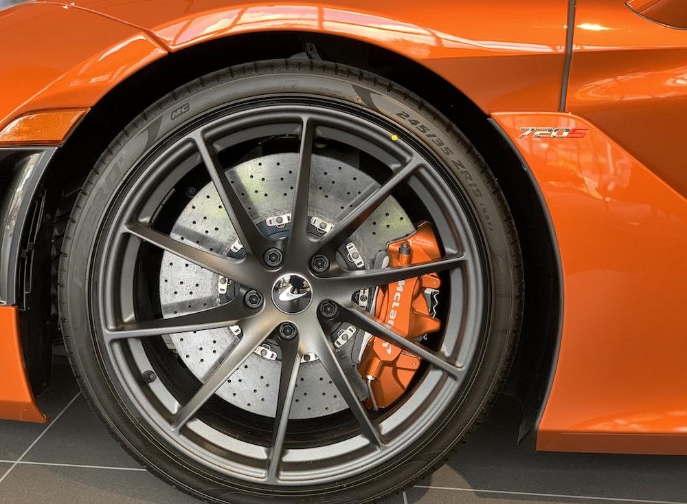 silver and black car wheel