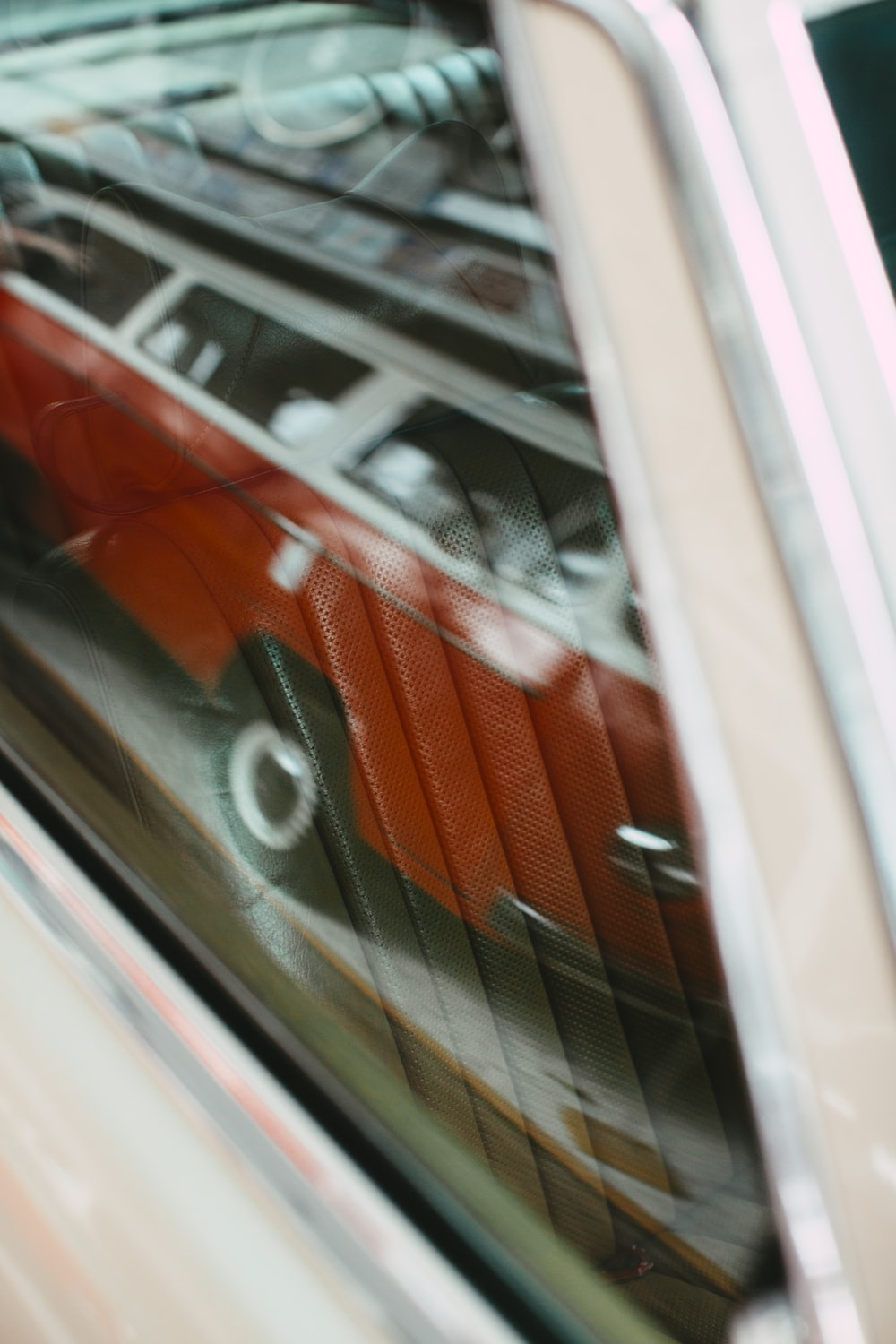 red and white car door