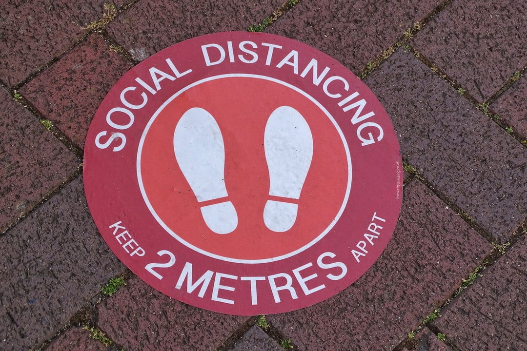Social Distancing Due to the pandemic Covid-19 space every 2 meters across the pavement.