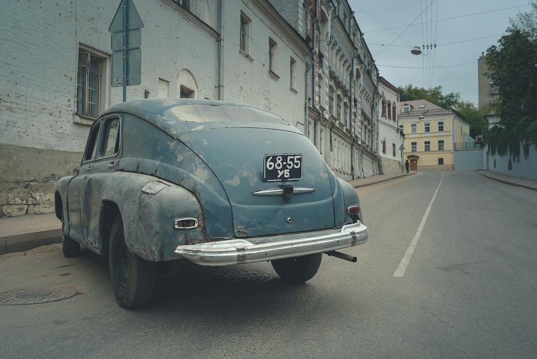 An old Soviet car GAZ on a Moscow street.