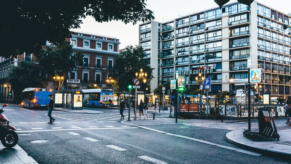 people walking on pedestrian lane near buildings during daytime