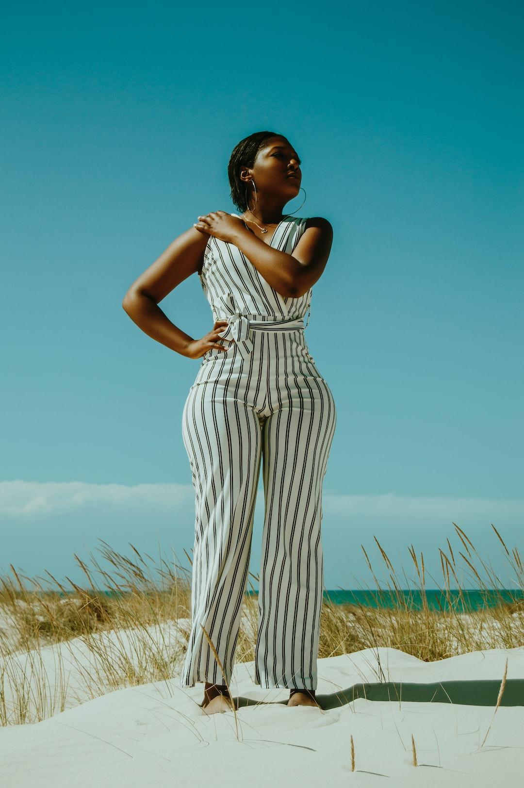 Beautiful summer Ebonics portrait of a gorgeous model taken near the beach