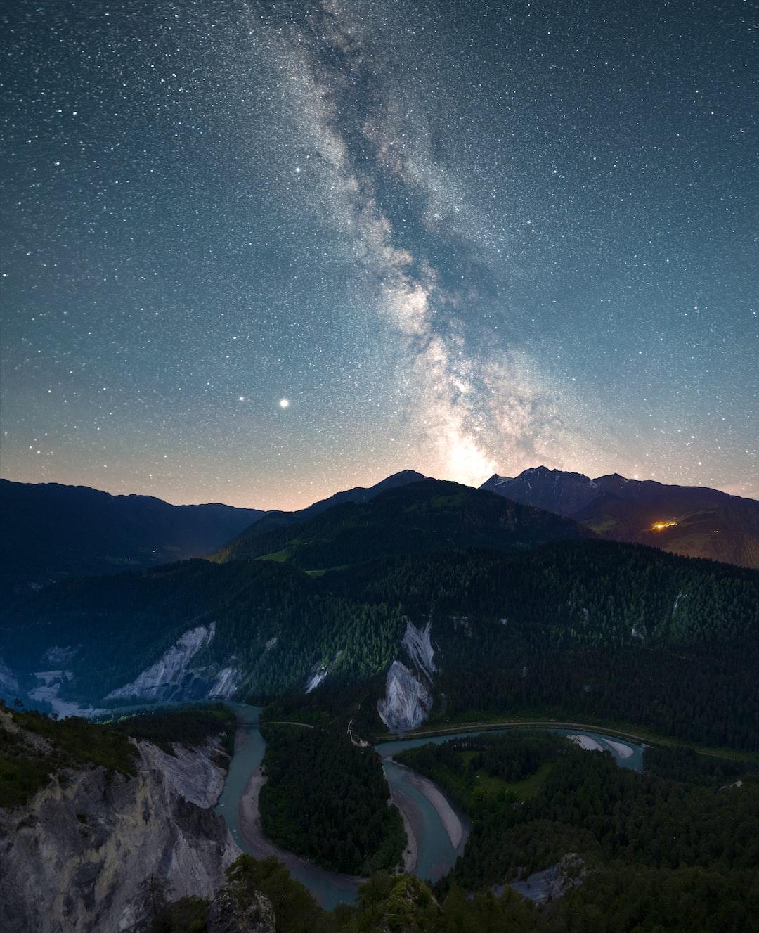 "The Milky Way over the ""Rheinschlucht"" from the il Spir viewing platform."