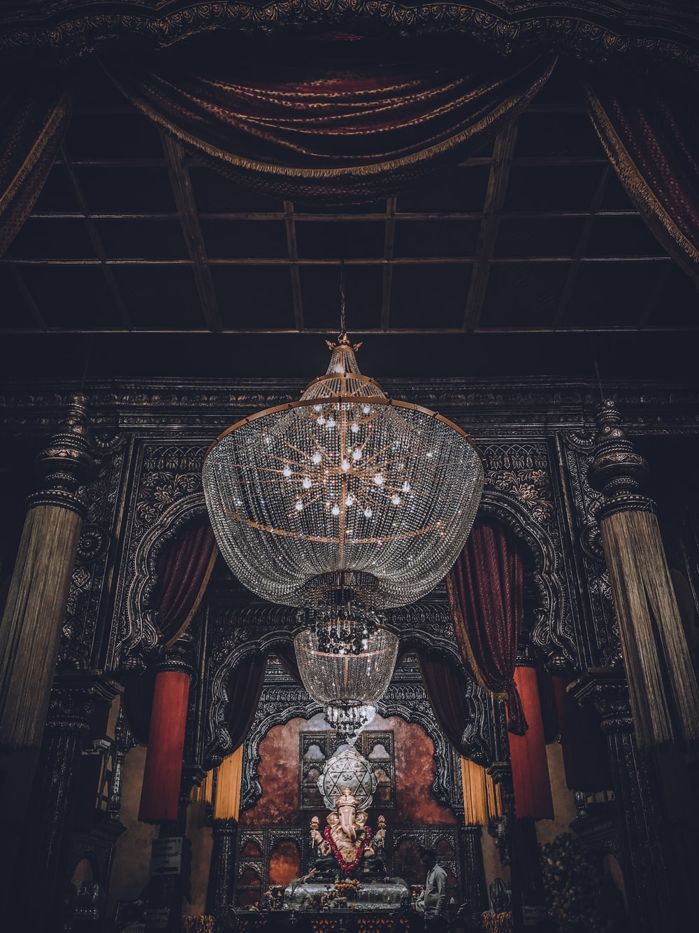 gold and red glass chandelier