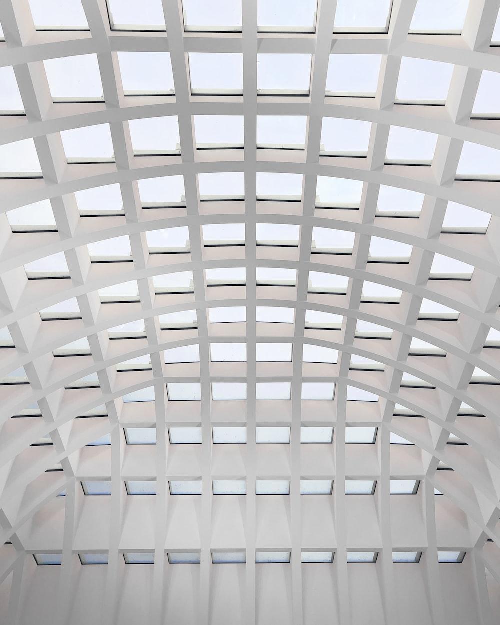 white metal frame ceiling during daytime