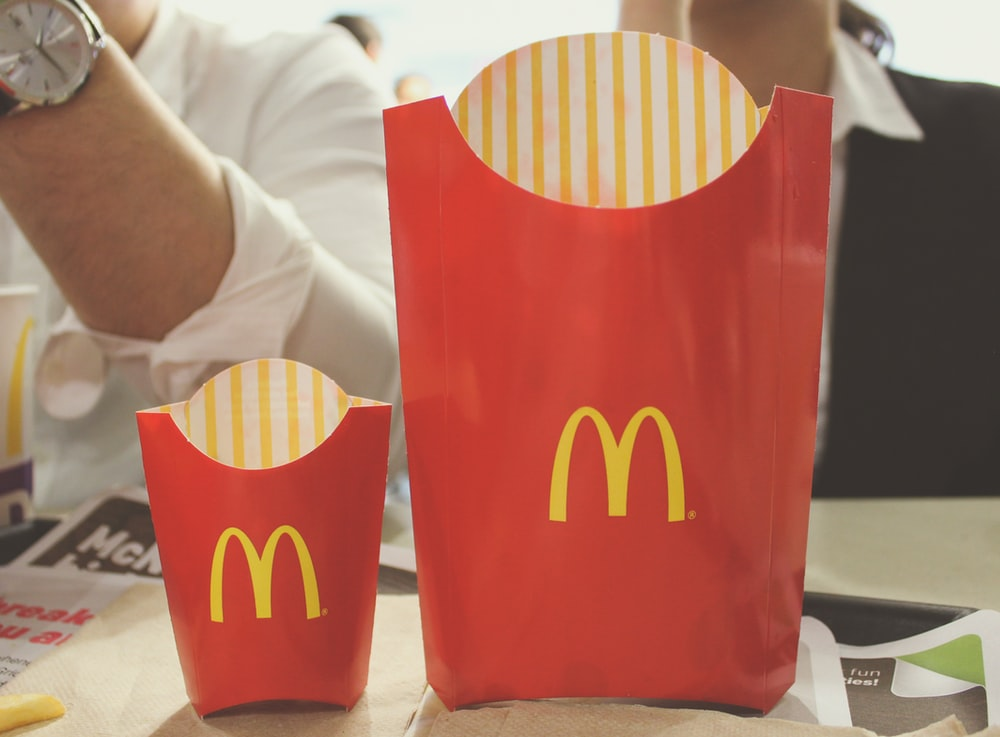 mcdonalds fries on table