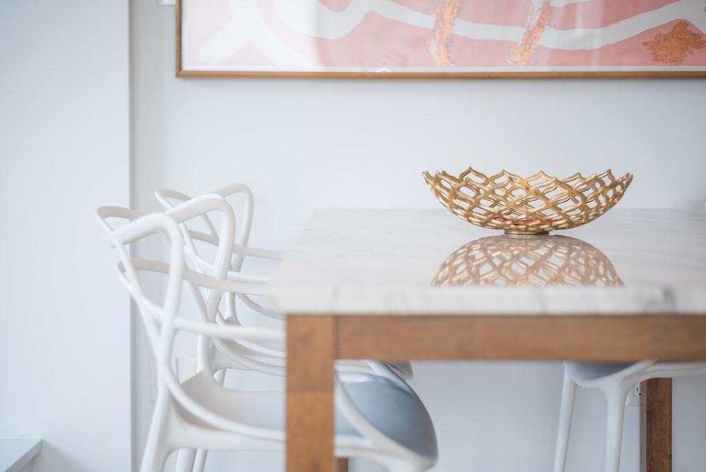 brown wicker basket on table