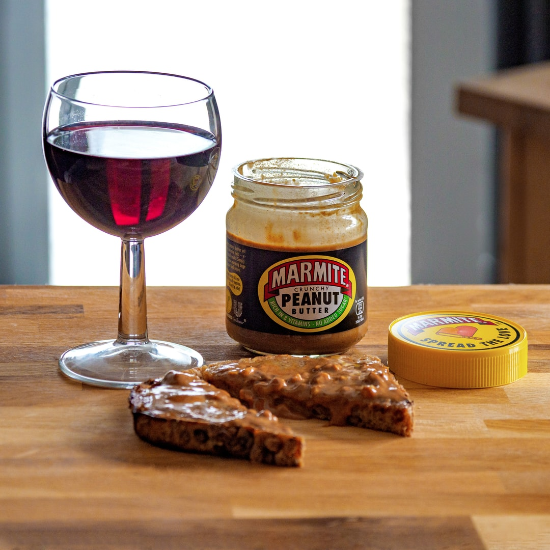 close up, bokeh, macro, blur, blurred background, close focus, red wine, peanut butter, product shot, red wine, wine glass, marmite, food, toast,