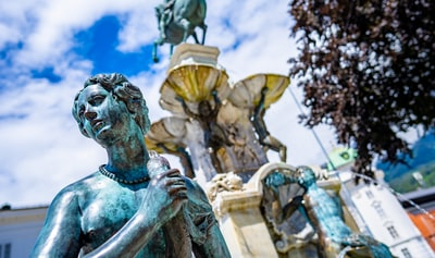 The Leopold Fountain in Innsbruck, Austria.