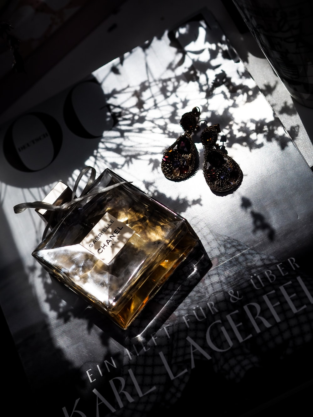 gold and black perfume bottle