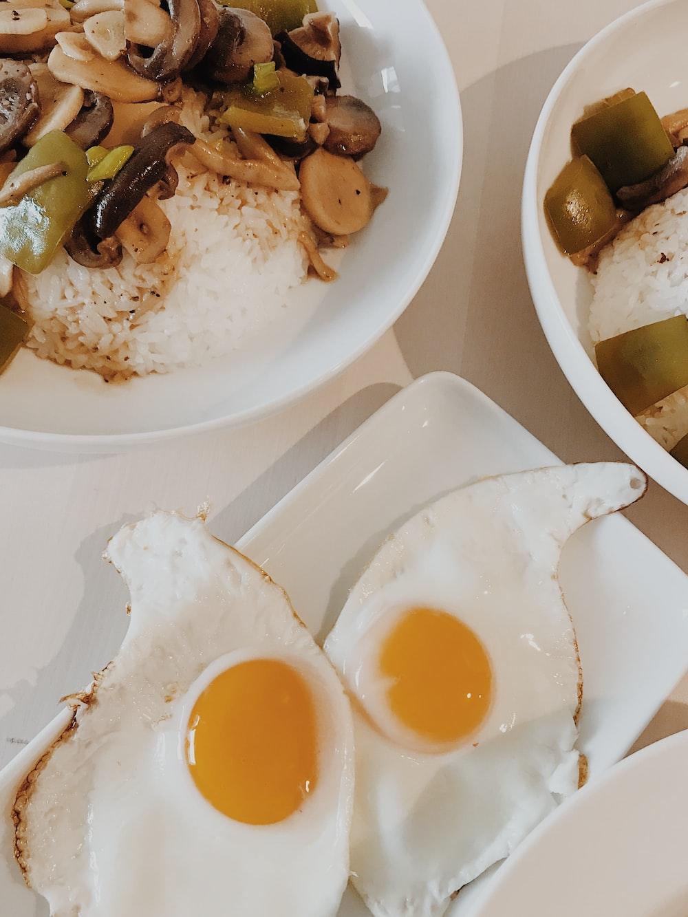 sunny side up egg on white ceramic plate