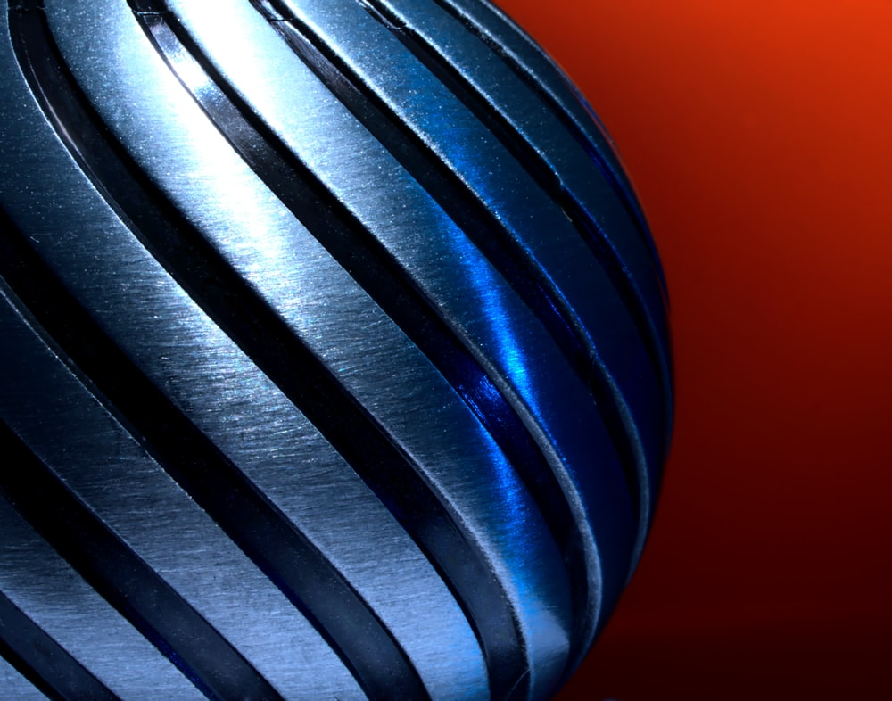 blue and white striped ball
