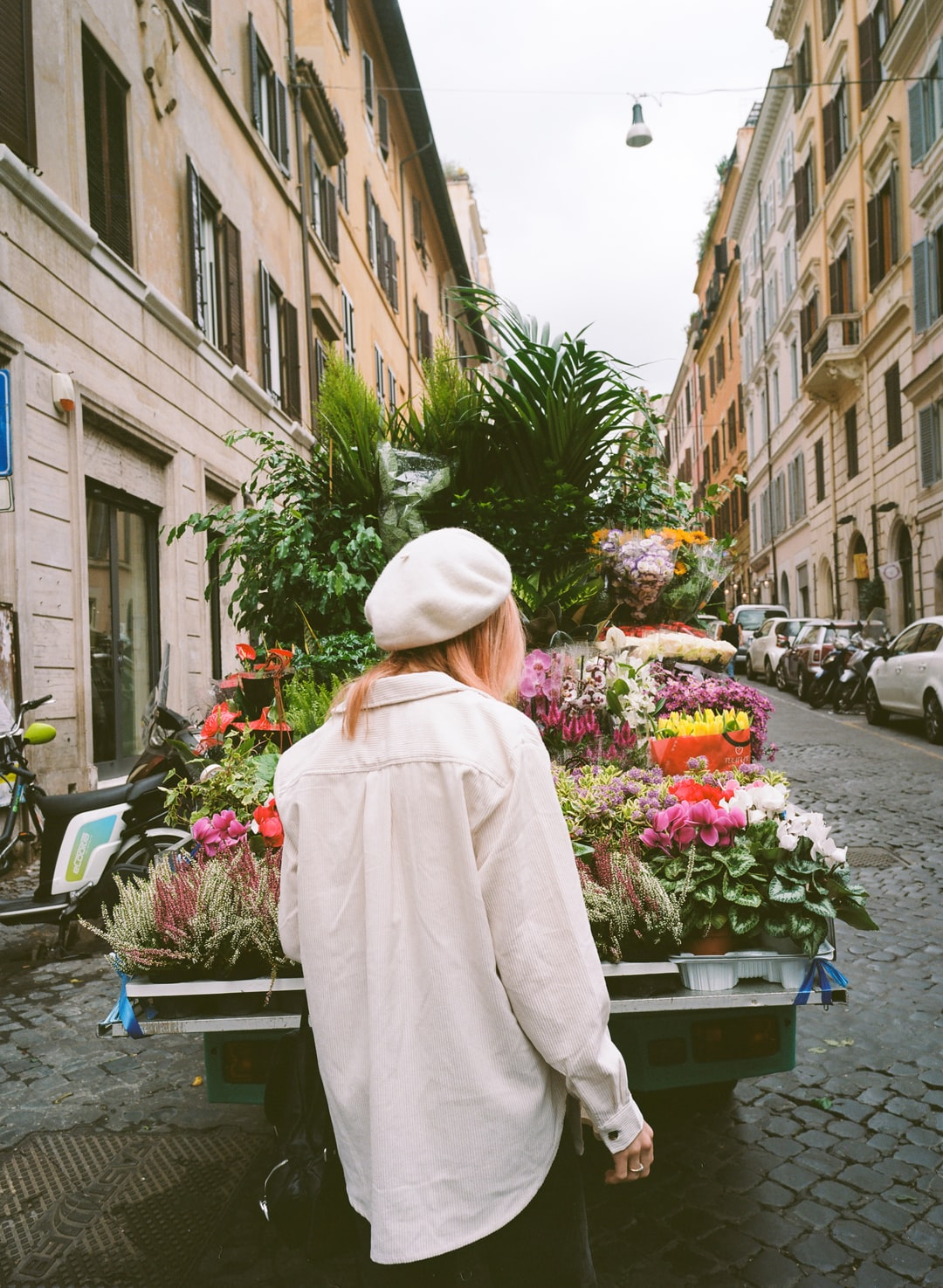 Floral truck in the streets of Rome