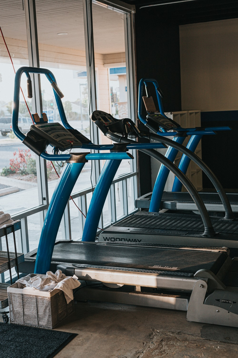 black and blue exercise equipment