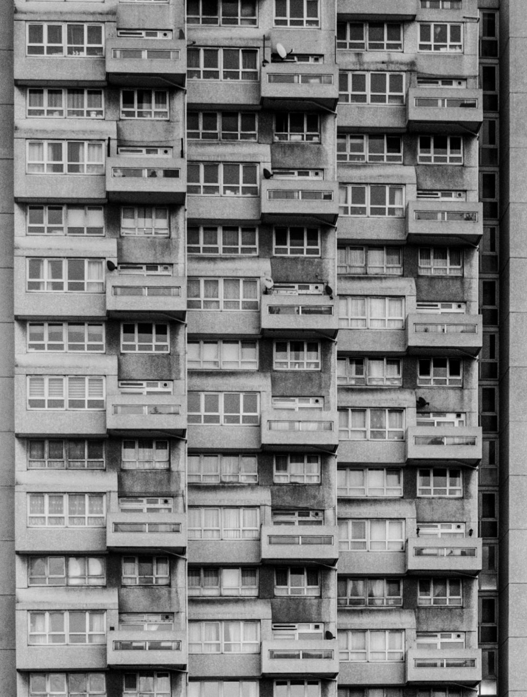 The façade of a tower block in Stockwell, London, UK.