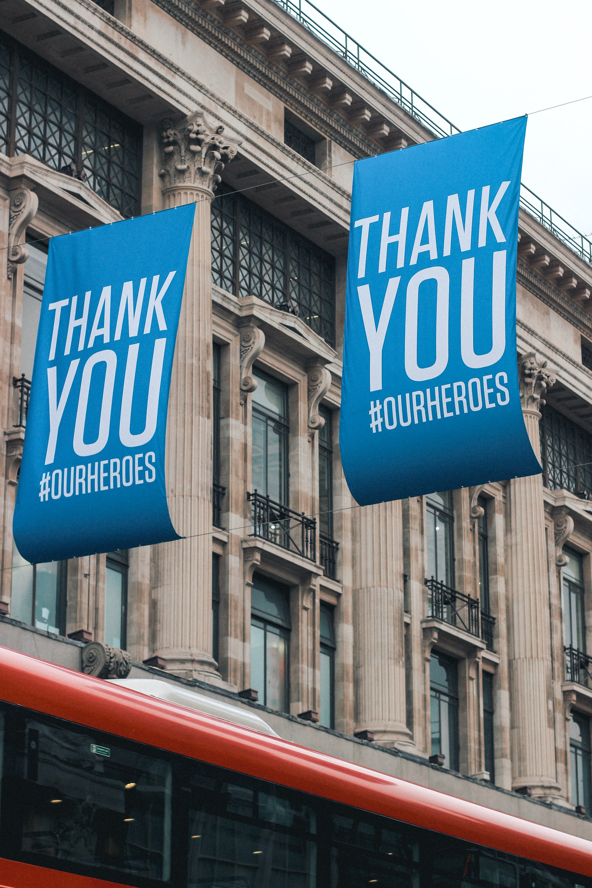Thank You NHS Banner on Oxford Street