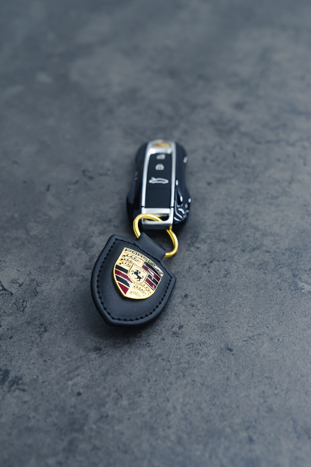 black and silver key chain
