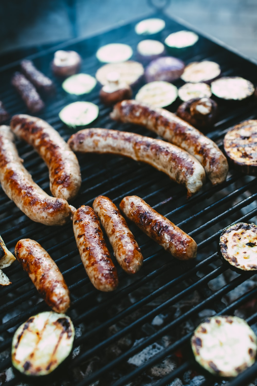brown sausage on black grill