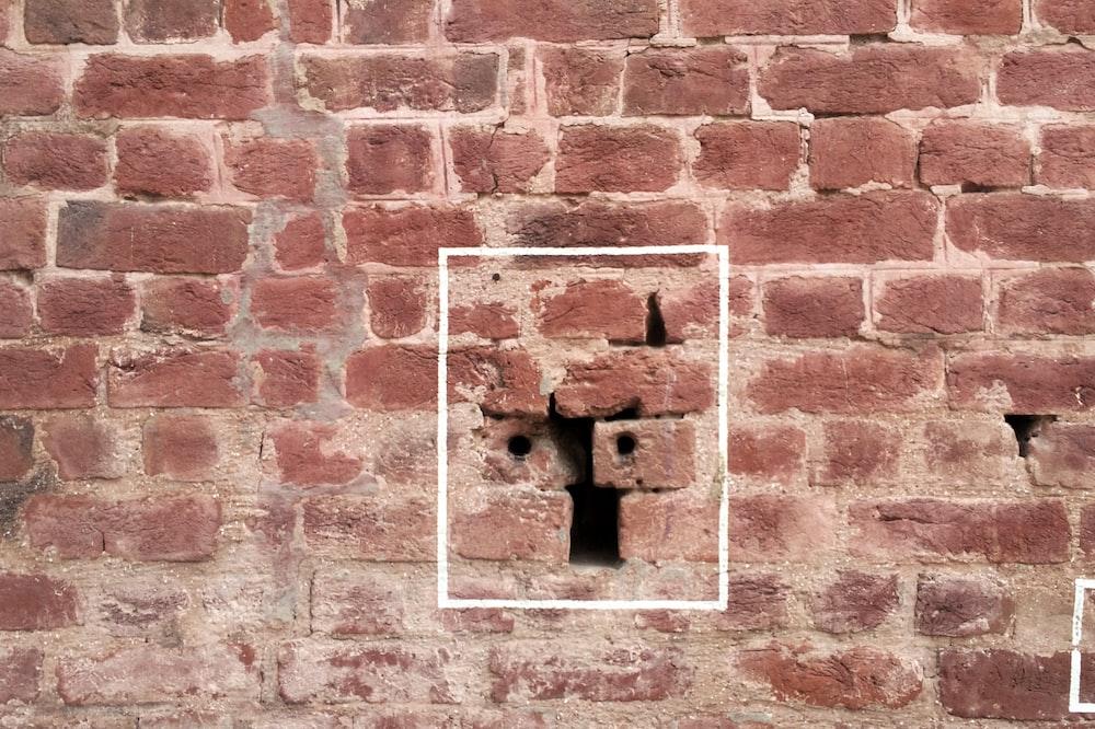 blue and brown brick wall