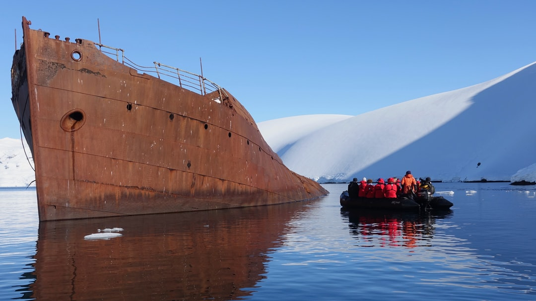 Burnt out whale processing ship on the Antarctic Peninsula.