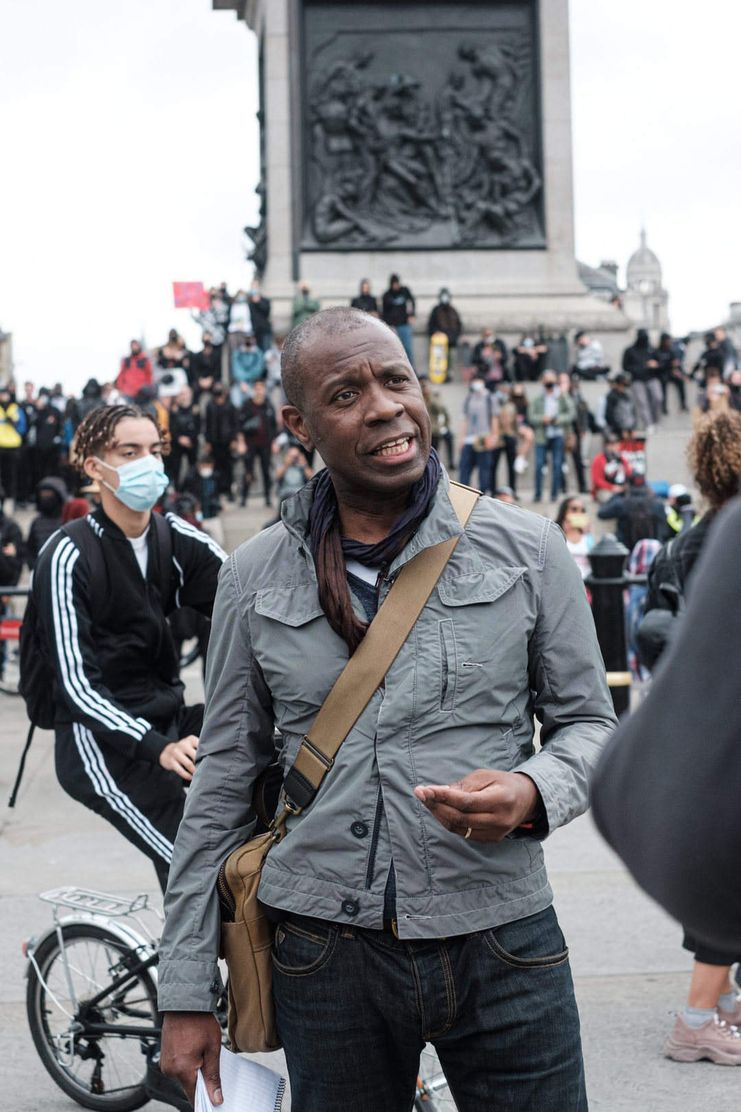 Clive Myrie at a London Black Lives Matter Peaceful Protest from Hyde Park to Trafalgar Square via Buckingham Palace