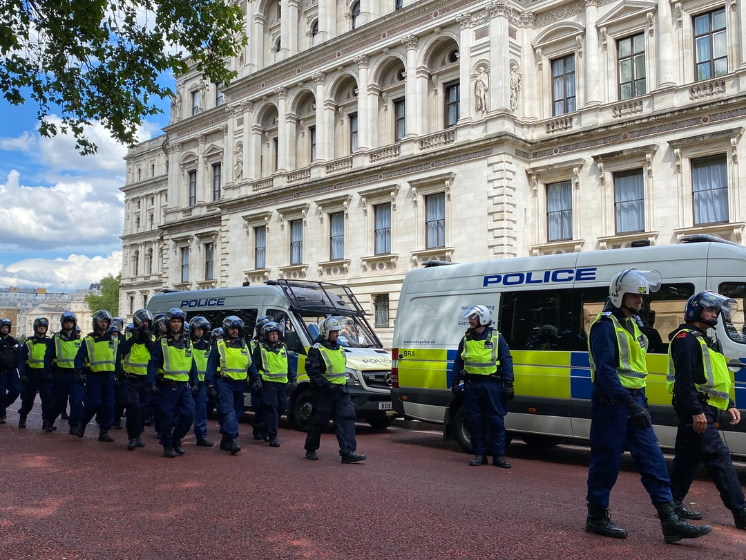 Squads of MPS prepare to confront right wing demonstrates in Parliament Square.