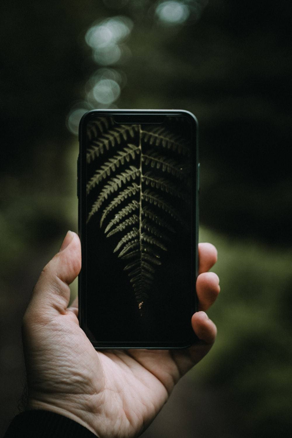 person holding black smartphone with black case