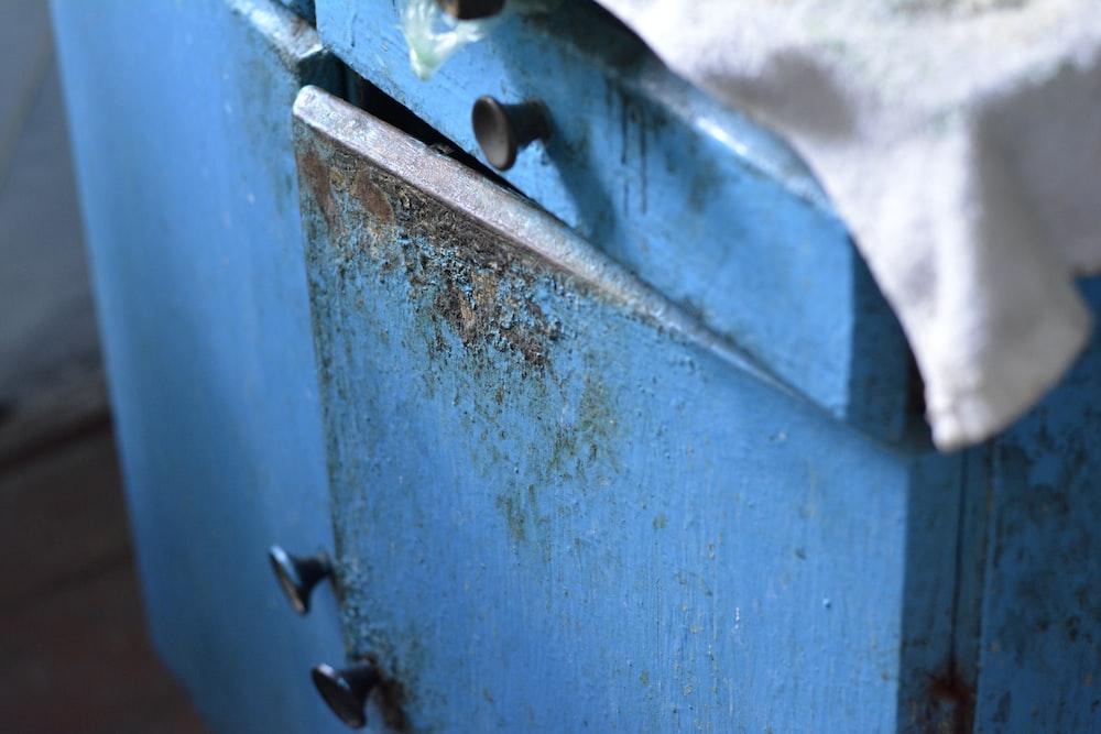 blue and black metal door