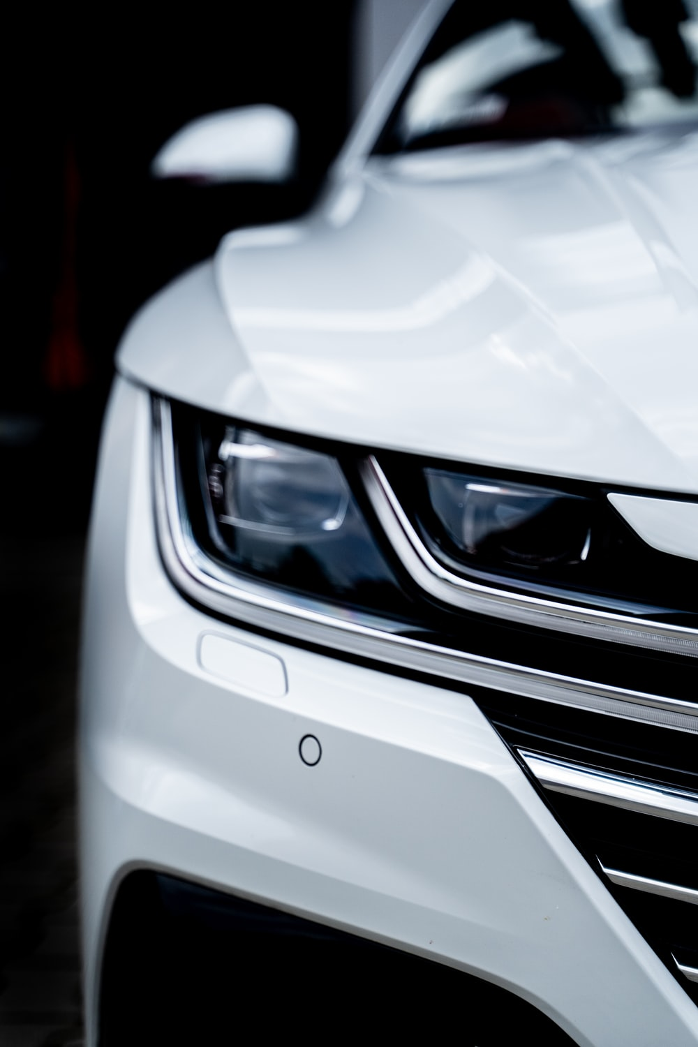 white car in close up photography