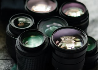 black camera lens with water droplets