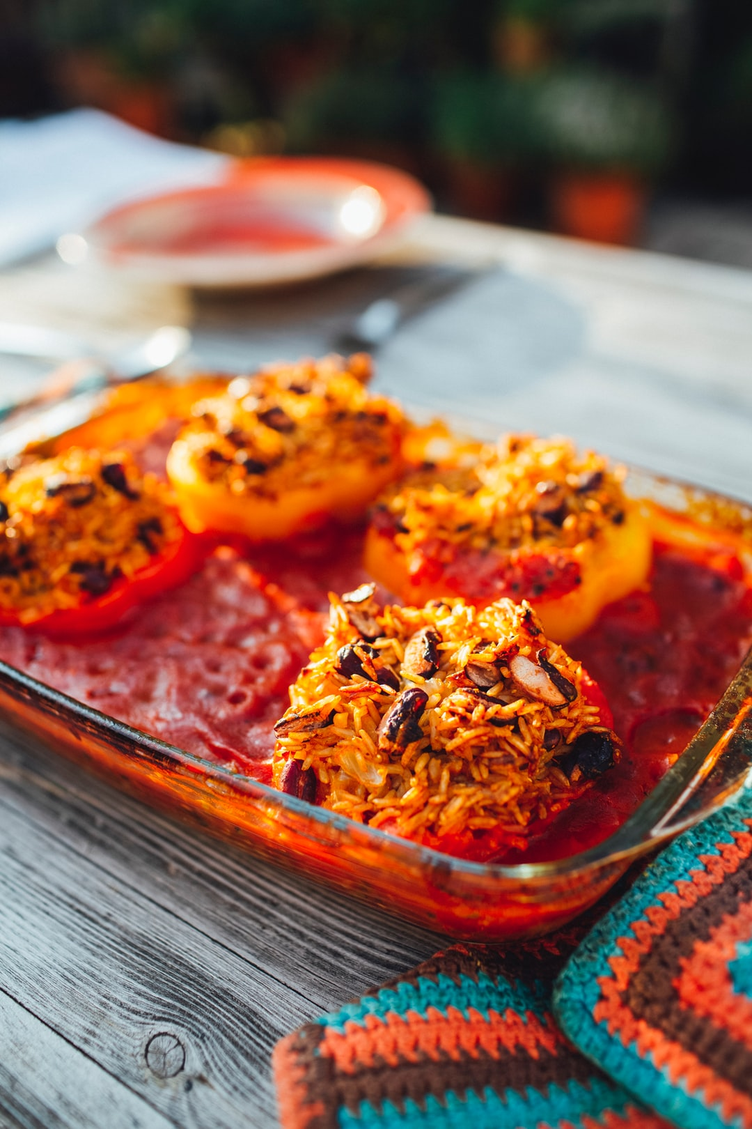 Vegan cuisine – Casserole stuffed peppers with rice and beans