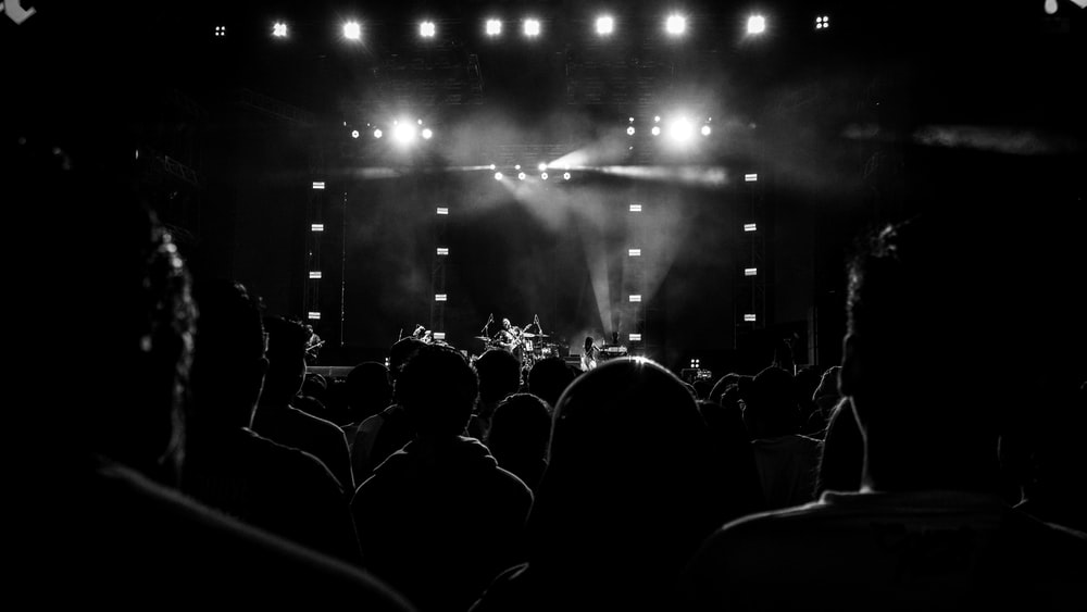 people watching concert during night time