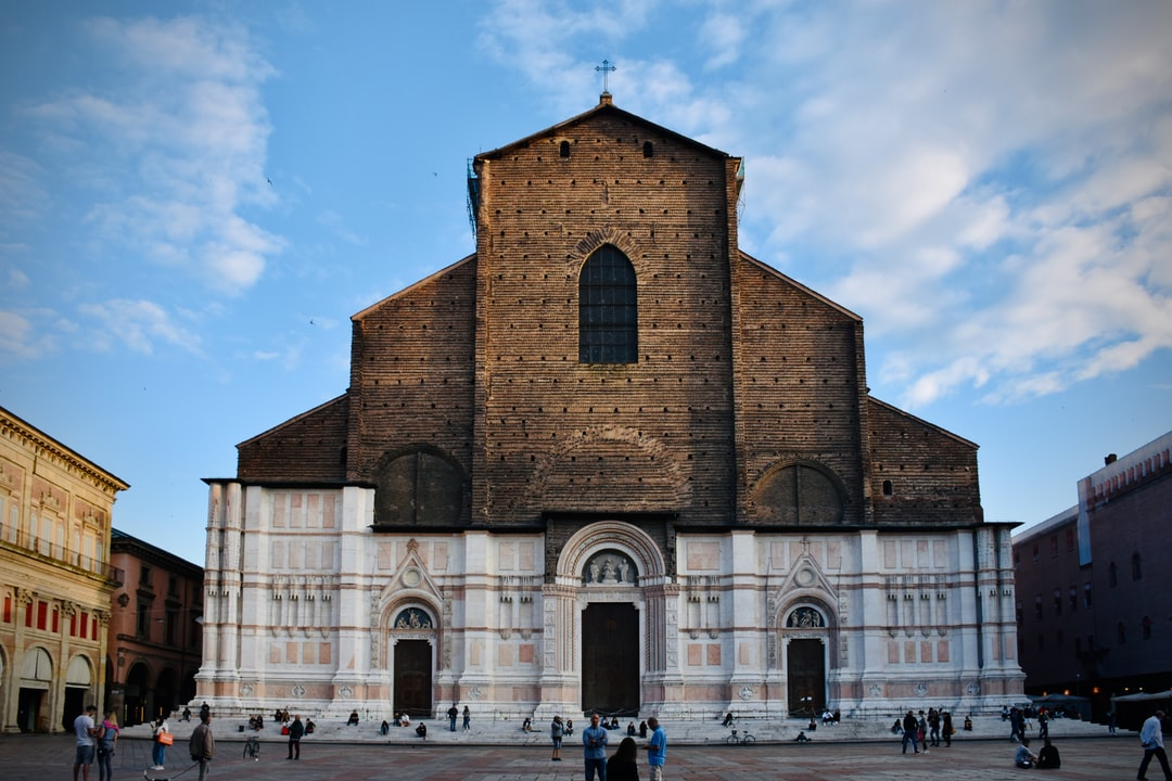 Great Rennessaince cathedral of San Petronio in Bologna, on its main Square Piazza Maggiore.