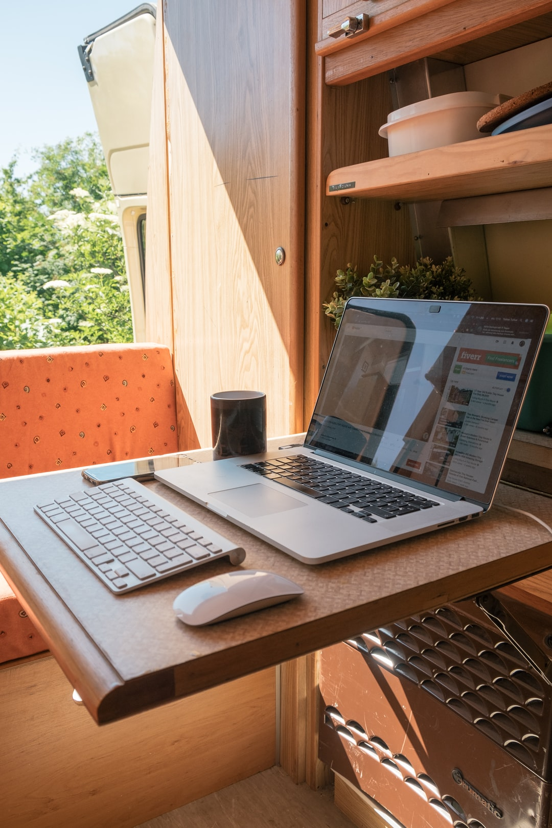 A home office in a van