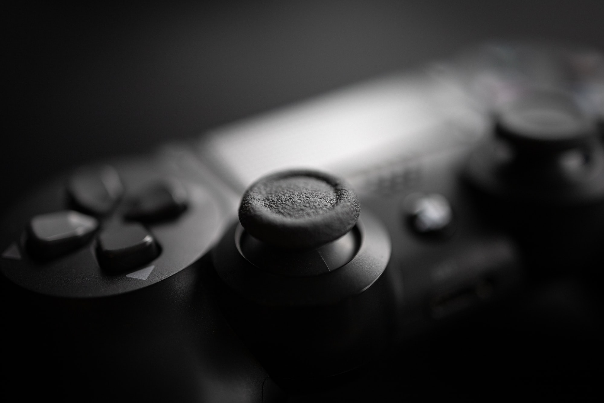 Close-up of a PlayStation 4 controller.