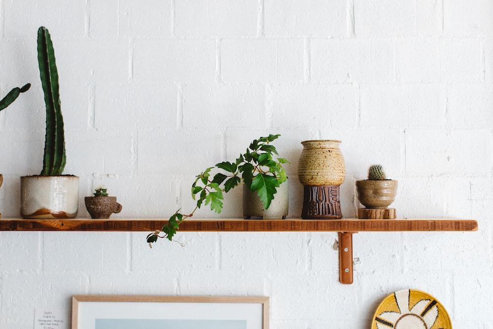 brown ceramic vase on brown wooden wall rack