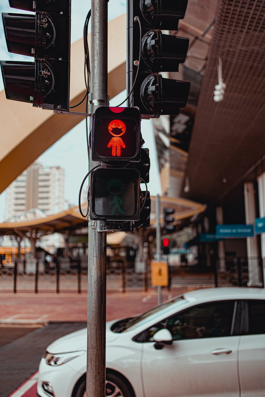 black traffic light on stop light