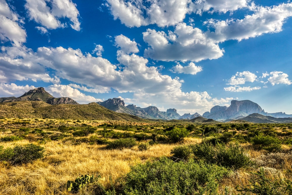 green grass field near mountains under blue sky and white clouds during daytime