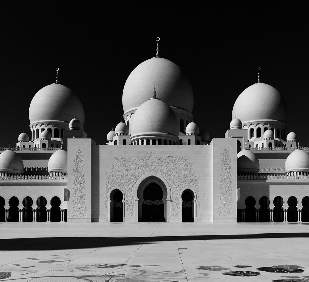 white and brown mosque illustration